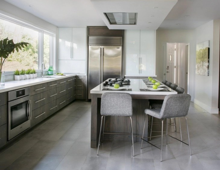 White Kitchen Grey Island