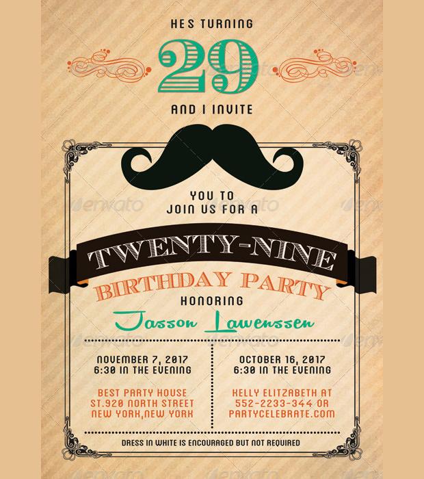 30 Birthday Invitations Printable PSD AI Vector EPS