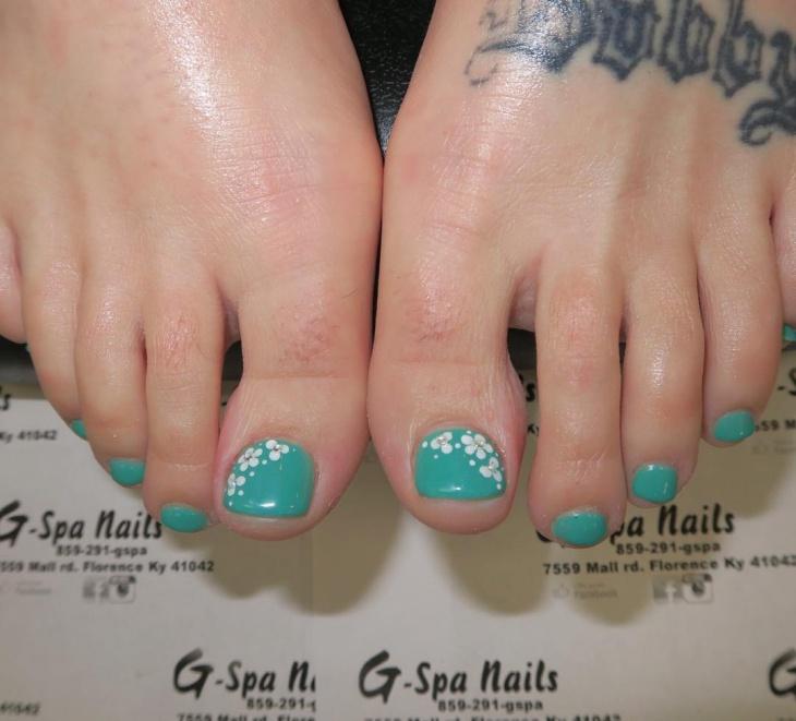 Spring Fl Toe Nail Art
