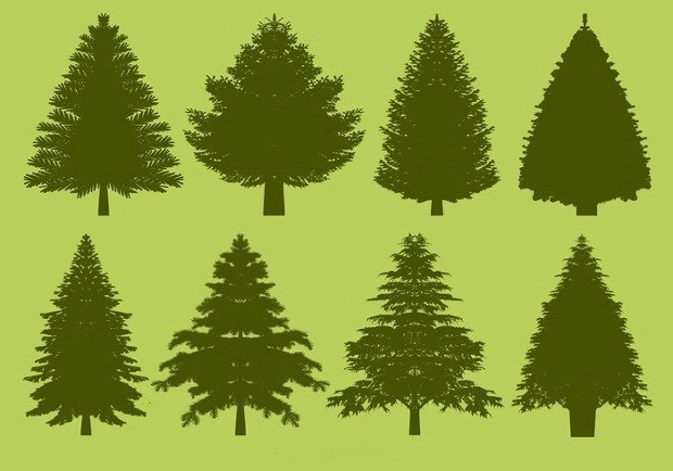 18 Tree Silhouettes PSD EPS Vector Illustrations