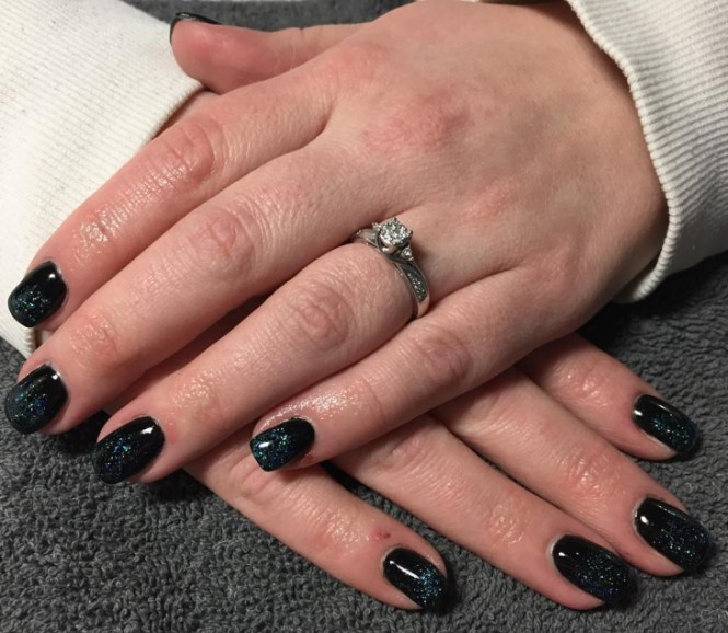 Apply The Glitter Gel Polish Base Coat And Add Bottom Color To It Now Top Of Your Choice Gently Blend With Finger Or Sponge