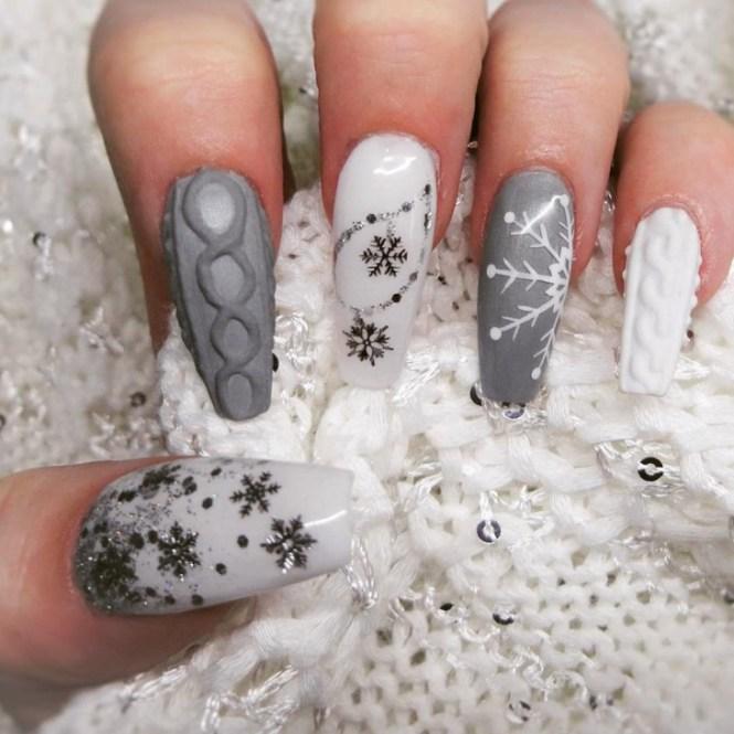 Cute Pastel Blue And White Sweater Nails Bmodish