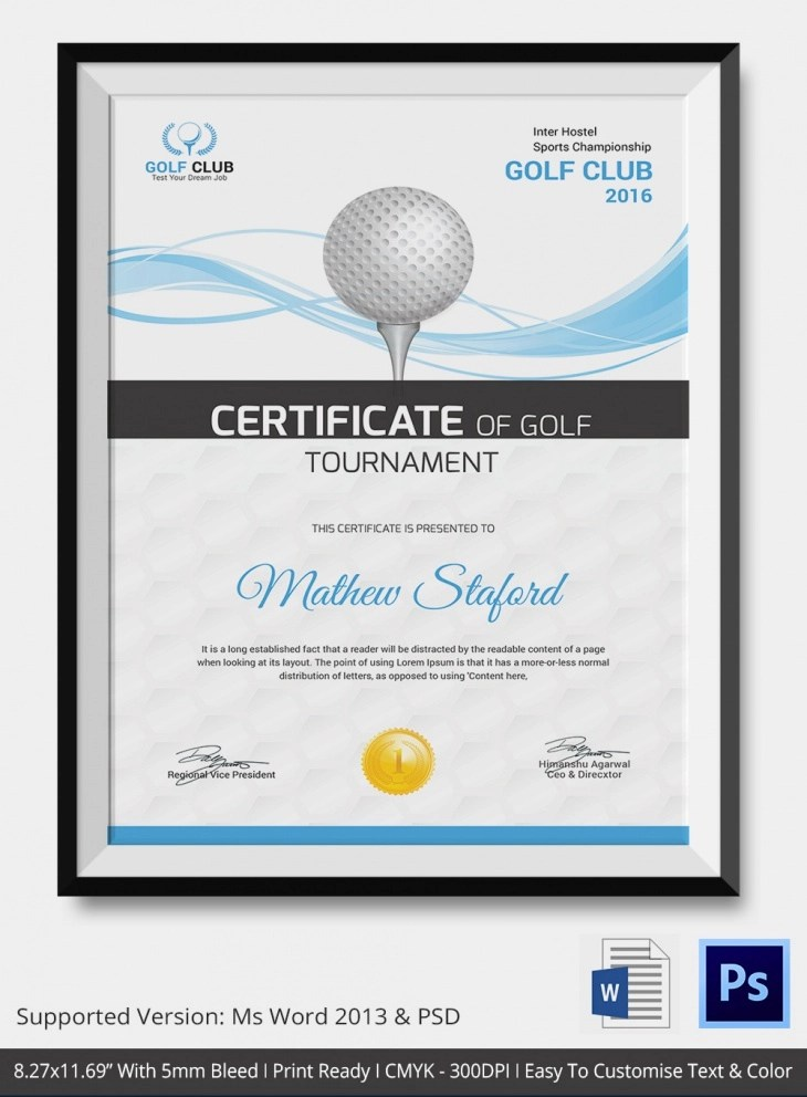 5 Golf Certificates PSD & Word Designs Design Trends