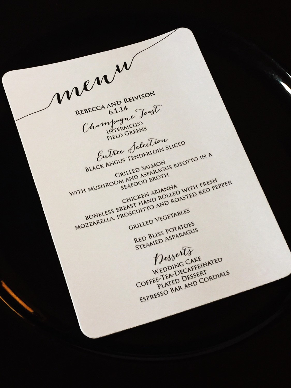 dinner menu card