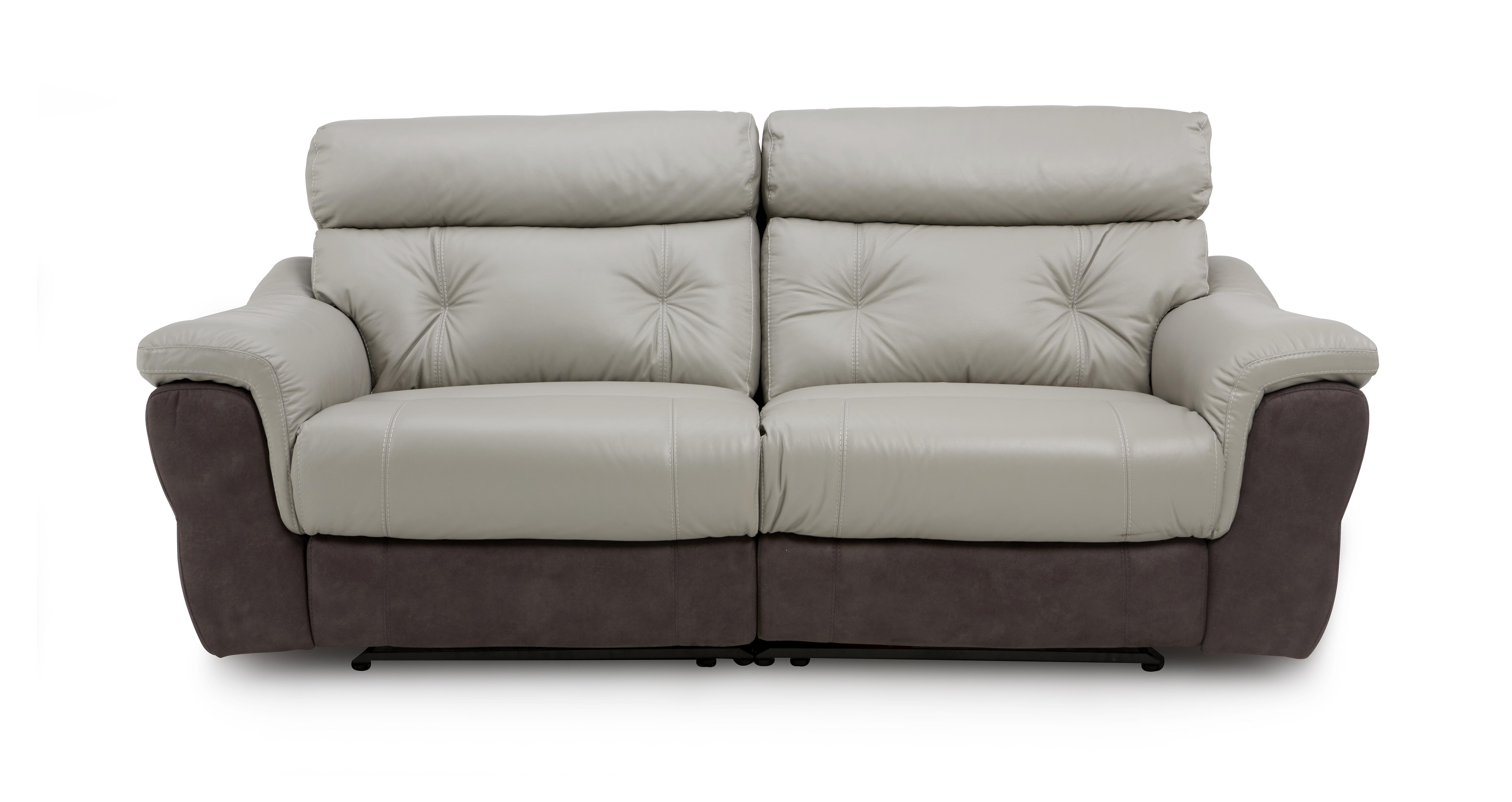 dfs recliner sofa bed bobkona barrie microsuede and loveseat set carello nickel grey leather ebay