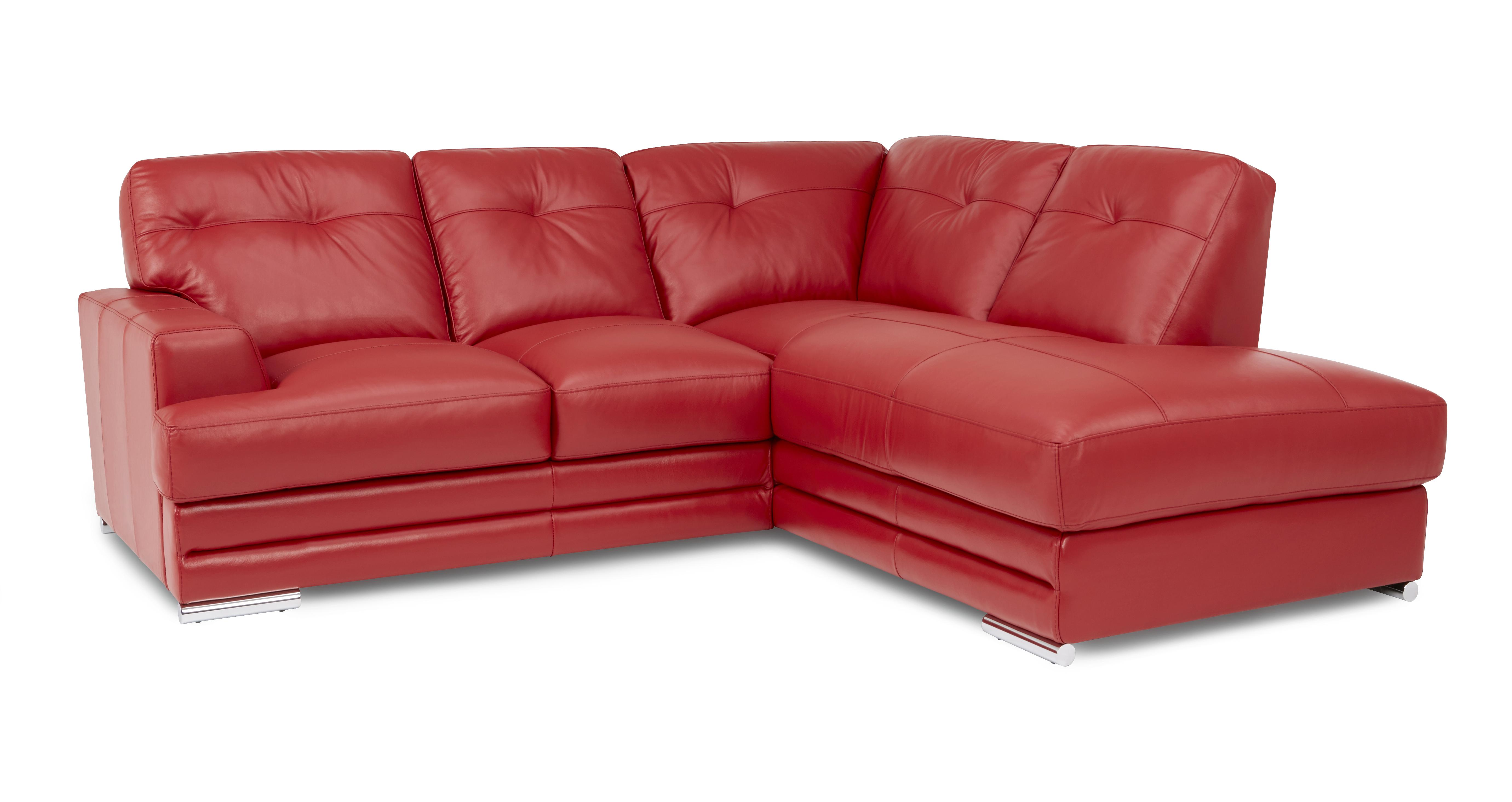 dfs red leather corner sofa bed how to make set at home quantum enzo 100 left hand
