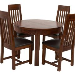 Round Kitchen Table And Chairs Ireland Tufted Back Chair Shiraz Extending Dining Set Of 4 Slat