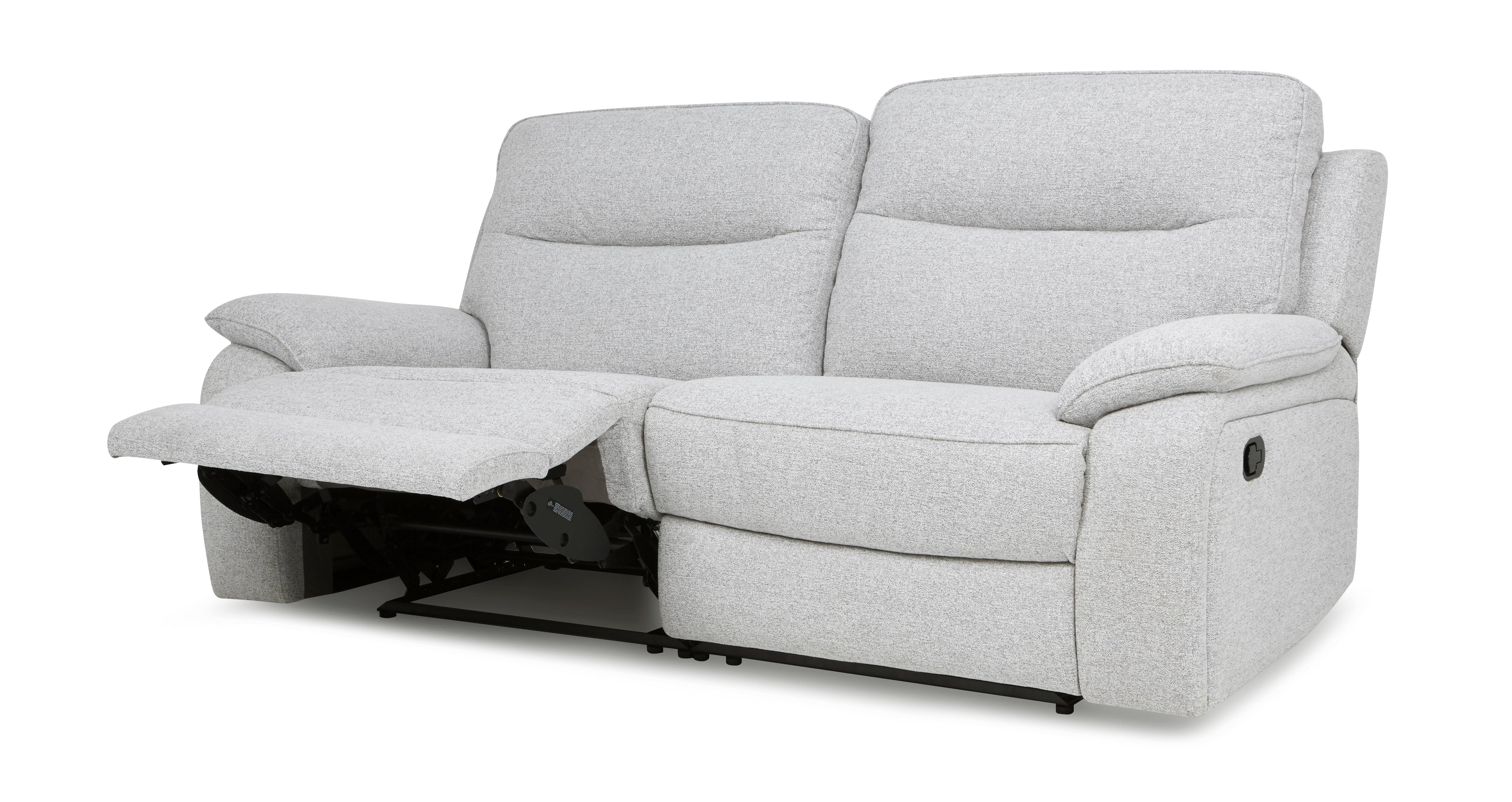grey leather recliner chair uk big and ottoman dfs superb silver fabric set 3 2