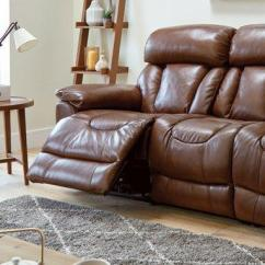 Leather Sofa Brown Dfs Standard Length Of A Three Seater Supreme 3 Manual Recliner Panama