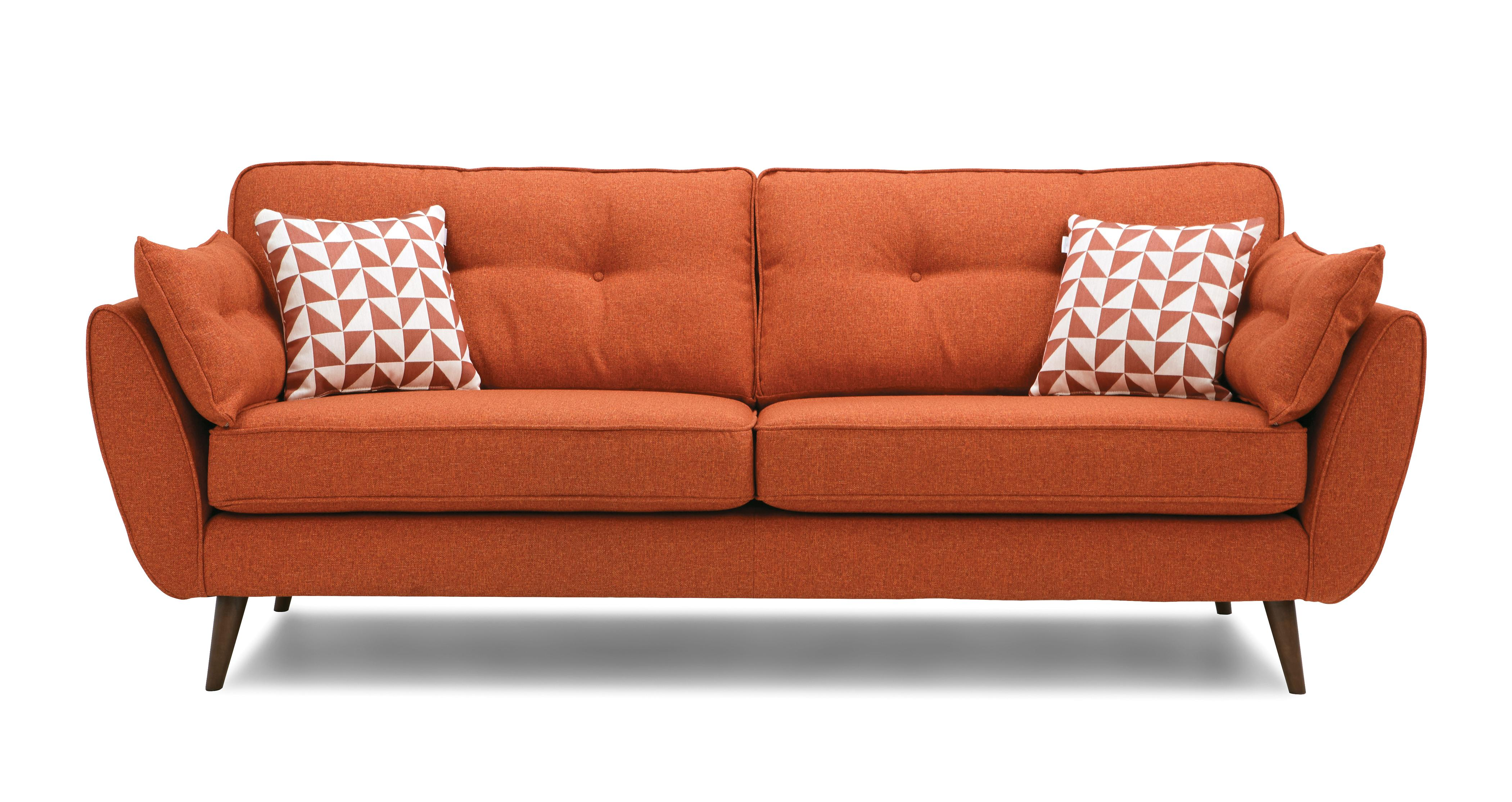 orange sofa uk large yellow cushions fabric sofas that are perfect for your home oranges dfs winter sale zinc 4 seater french connection