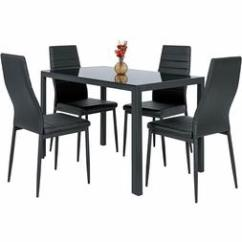 Set Of 4 Chairs Kids Leather Chair Dining Org 5 Piece Table Glass Metal Kitchen Room B