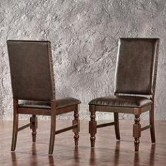 Nailhead Upholstered Dining Chair Portable Baby High Seat Flatiron Chairs Brown Pu