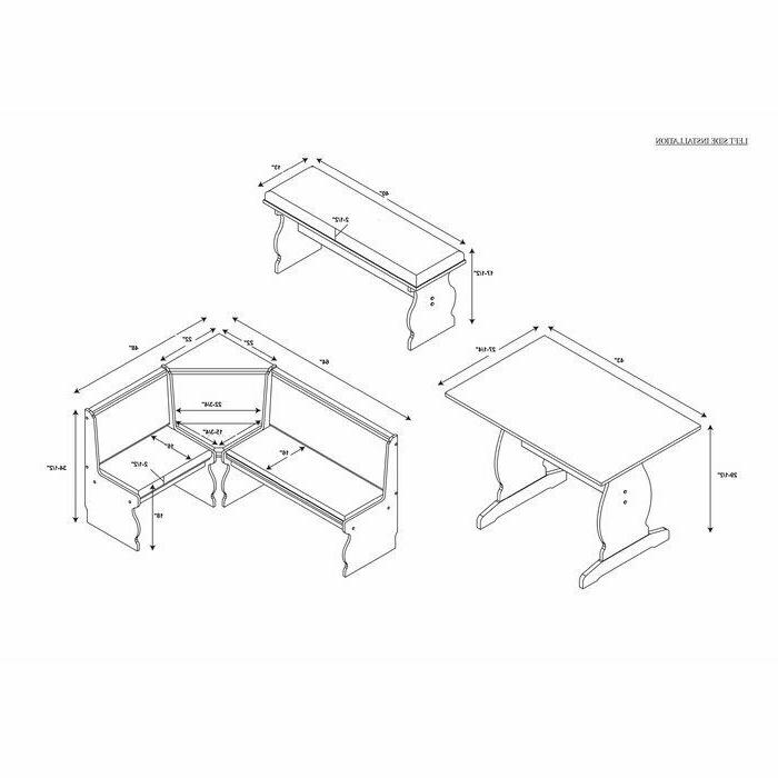 3 pc Gray White Top Breakfast Nook Dining