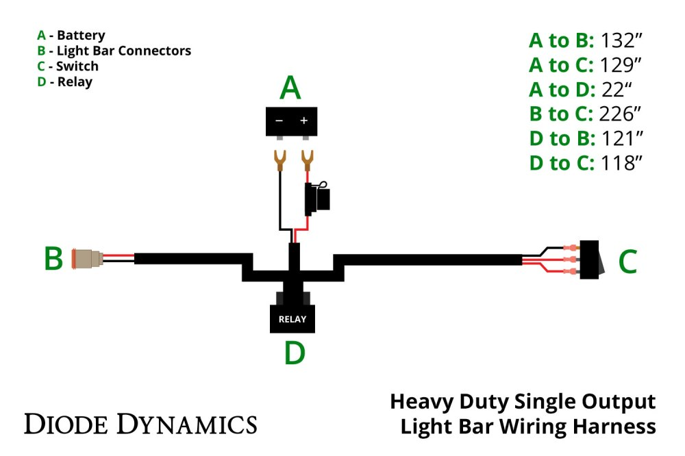 medium resolution of heavy duty single output light bar wiring harness diode dynamics stl led light bar wiring diagrams