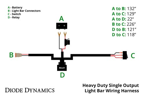 small resolution of heavy duty single output light bar wiring harness diode dynamics stl led light bar wiring diagrams