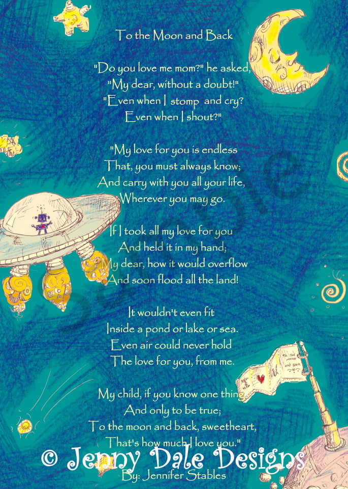 I Love You To The Moon And Back Pictures : pictures, Outer, Space, Scene:, Back,, Turquoise, Background, Jenny
