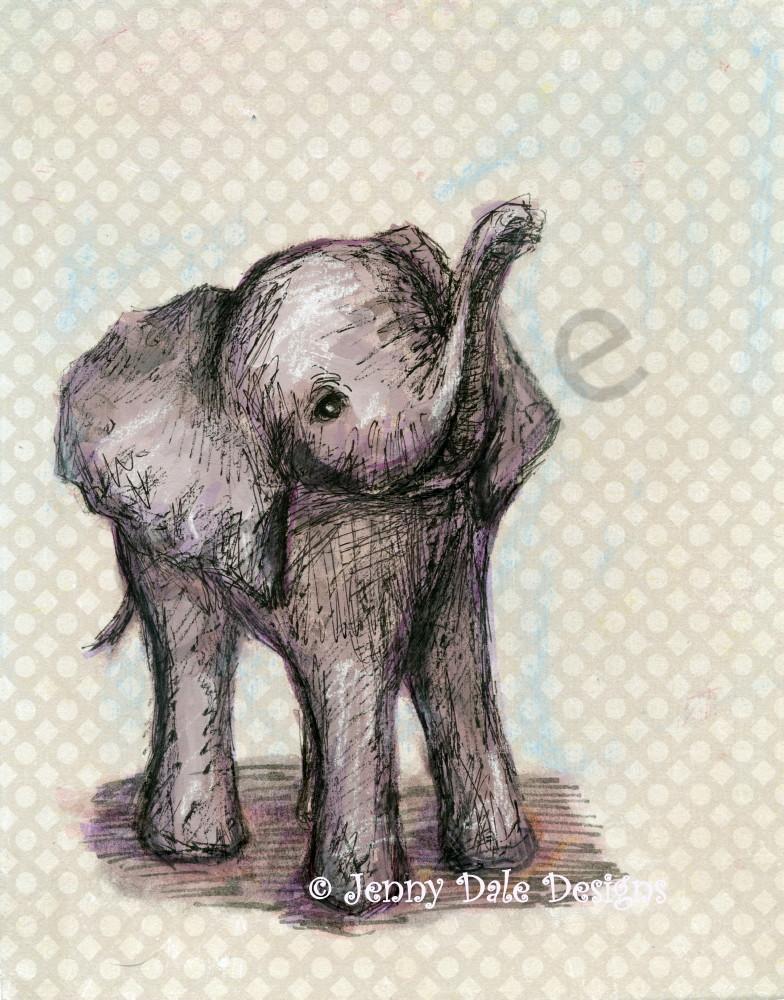 Baby Elephant Background : elephant, background, Sweet, Elephant:, Raised, Trunk,, Neutral, Background, Jenny, Designs