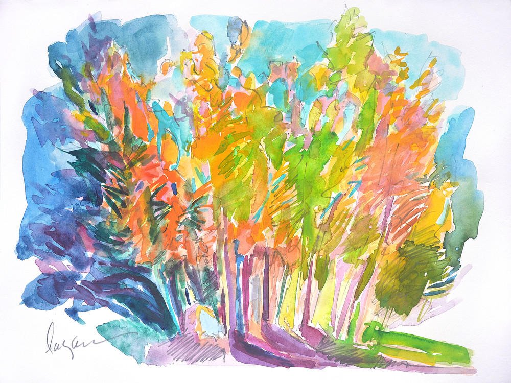 abstract trees watercolor painting