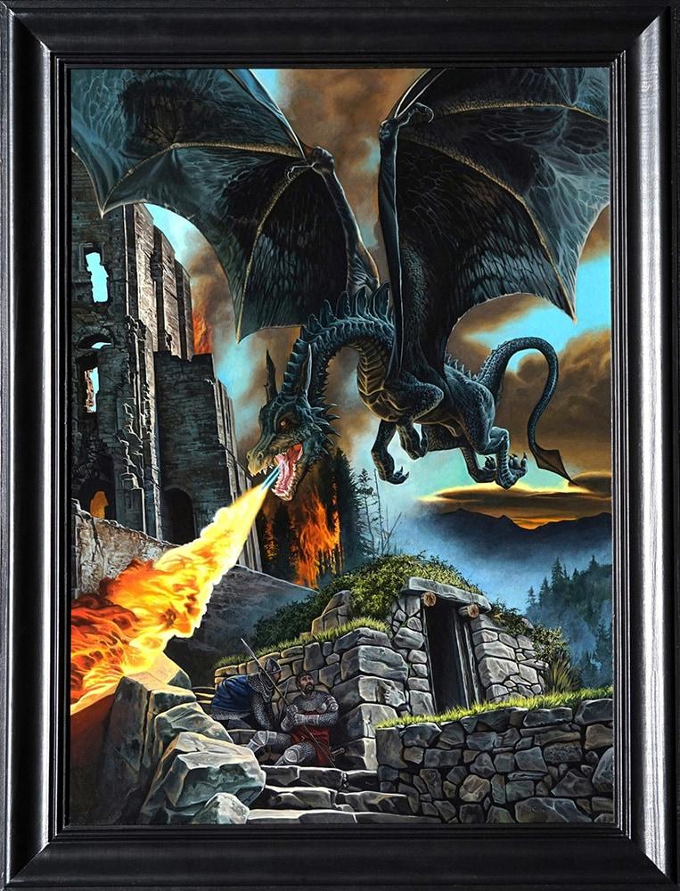 dragon attack acrylic painting