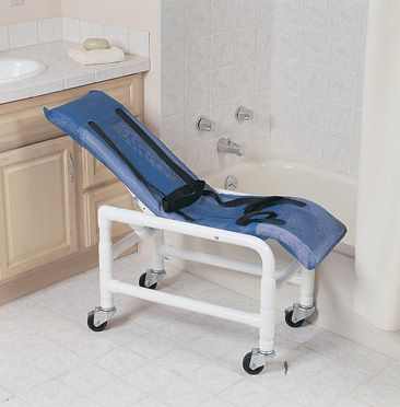 portable reclining chair black metal chaise lounge shower-bath - living made easy