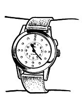 Watches with clear visual and/or tactile display