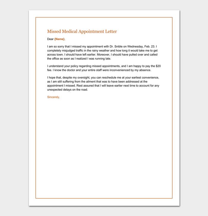 Missed Appointment Letter Sample Medical Missed Appointment Letter