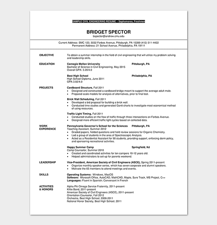 Resume Template for Freshers - 18+ Samples in (Word, PDF Foramt)