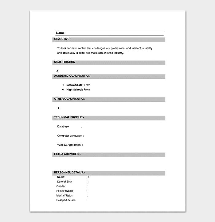 Word Document Resume Format Doc For Fresher
