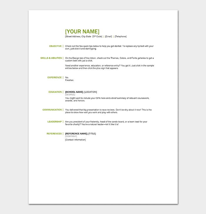 Resume Basic Information Sample