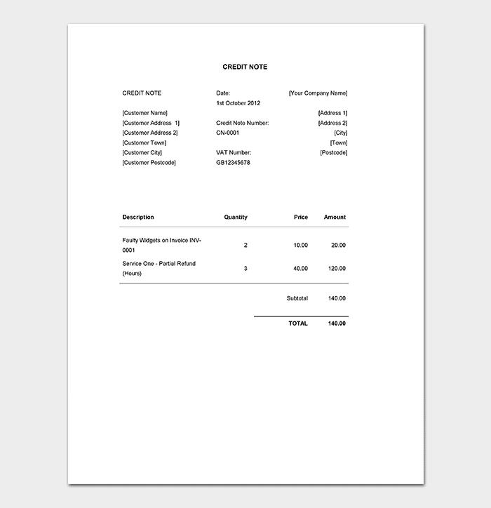 credit note format pdf