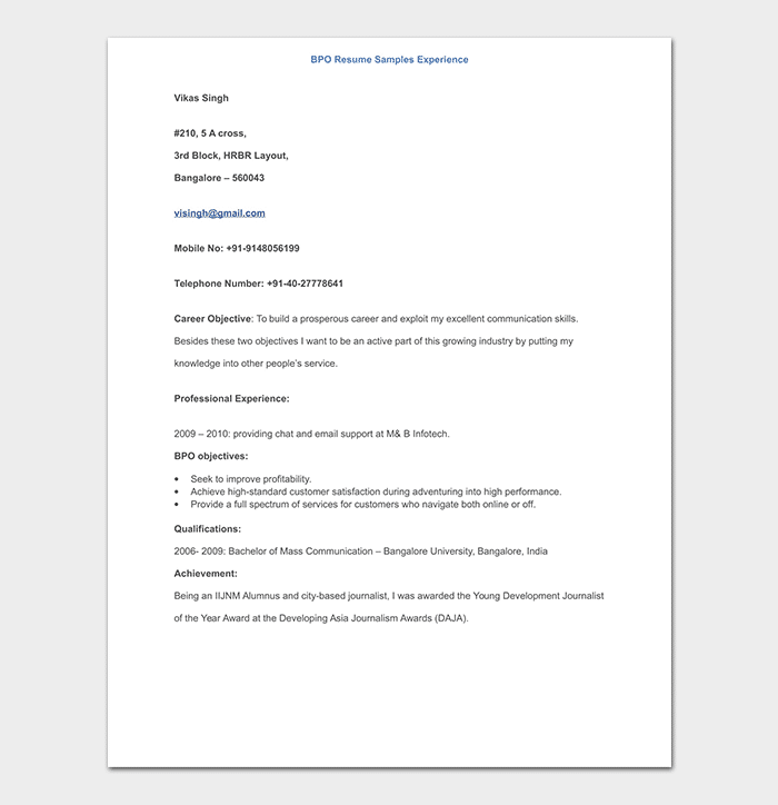 bpo resume sample for experienced