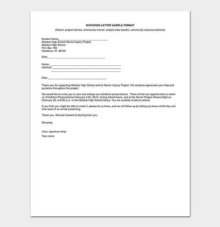 Invitation Letter Format