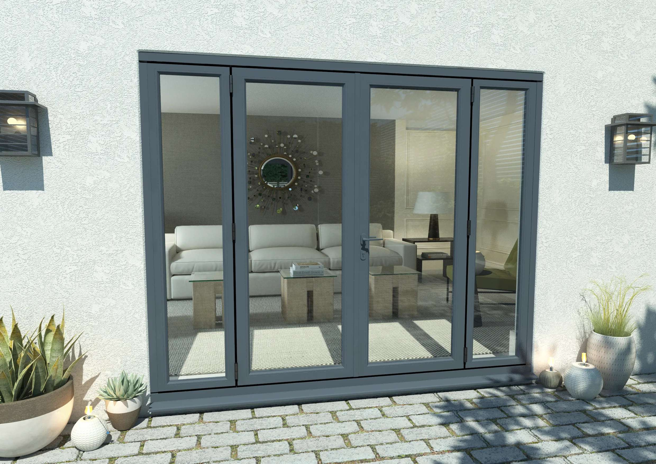 2400mm open out grey aluminium french doors 1500mm doors 2 x 450mm sidelights