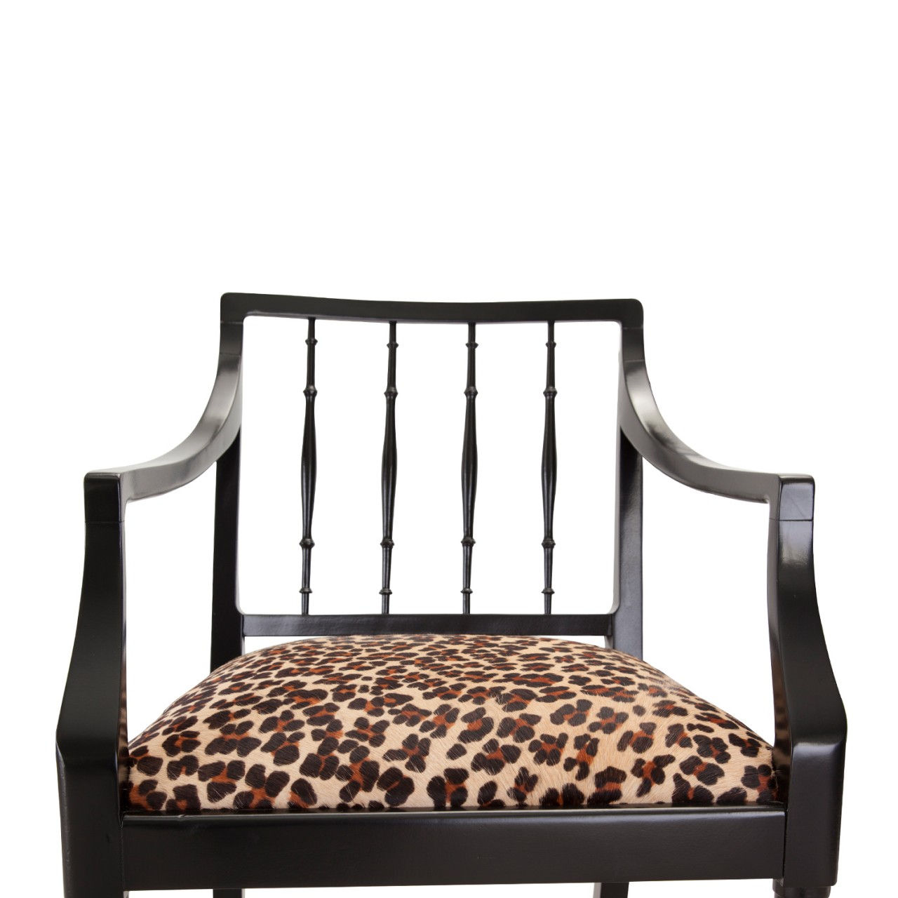 cowhide chairs uk santa for rent elegant black chair with leopard print seat