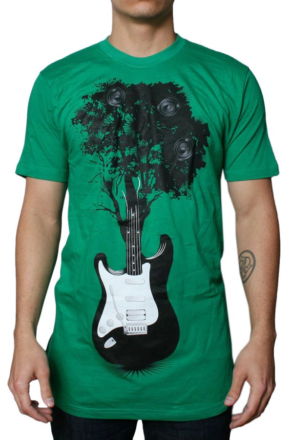 Tree Guitar Mens T-shirt In Kelly Green Dress Code