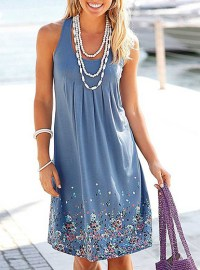 Soft Pleated Summer Dress - Small Flower Prints / Knee ...