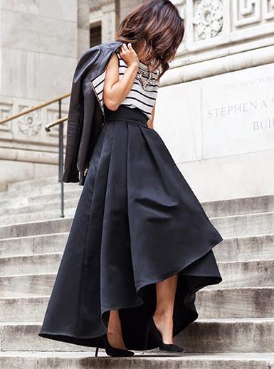 Black Hi Low Hem Stretch Skirt  High Waist  Box Pleats