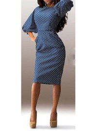 Midi Dress - Puffy Sleeves / Blue with White Polka Dots ...