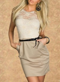 Cream and Tan Dress - White Lace Overlay / Black Tie ...