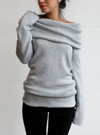 Women's Stretchy Sweater - Shawl Collar / Gray