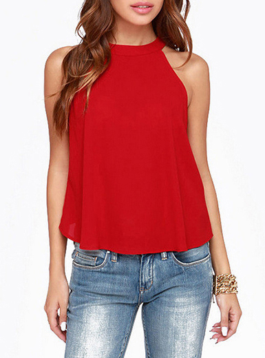 Womens Halter Top Red Solid Buttons