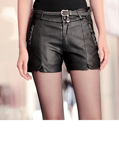Womens Leather Shorts  High Waisted  Two Front Seams