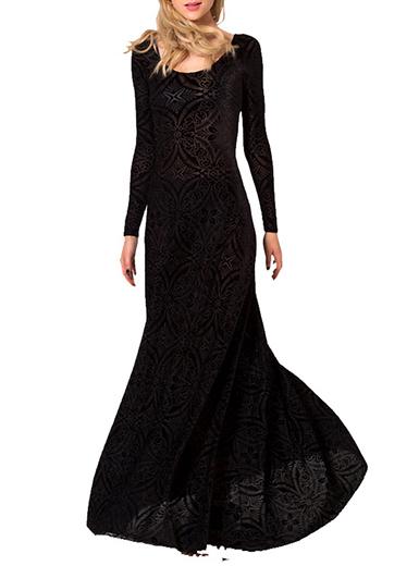 Womens Long Dress  All Black  Floor Length