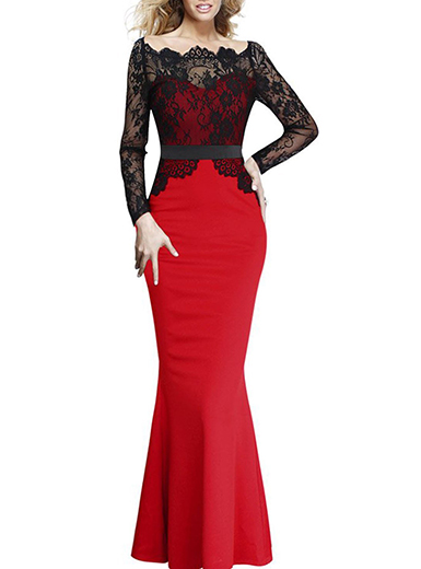Womens Long Sleeve Maxi Dress Lace Bodice Overlay Red