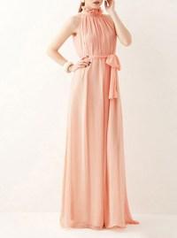 Womens Peach Dress - Chiffon Choker Neck Evening Gown