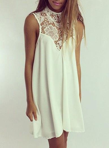 Chiffon Tent Style Dress Off White Lace High Neck
