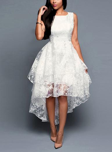Women's High Low White Lace Dress
