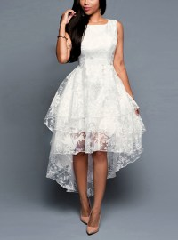 Women's High Low White Lace Dress - Three Layered / Sleeveless