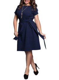 Puffy Sleeved Shift Dress - Plus Size / Belted Sash / Knee ...