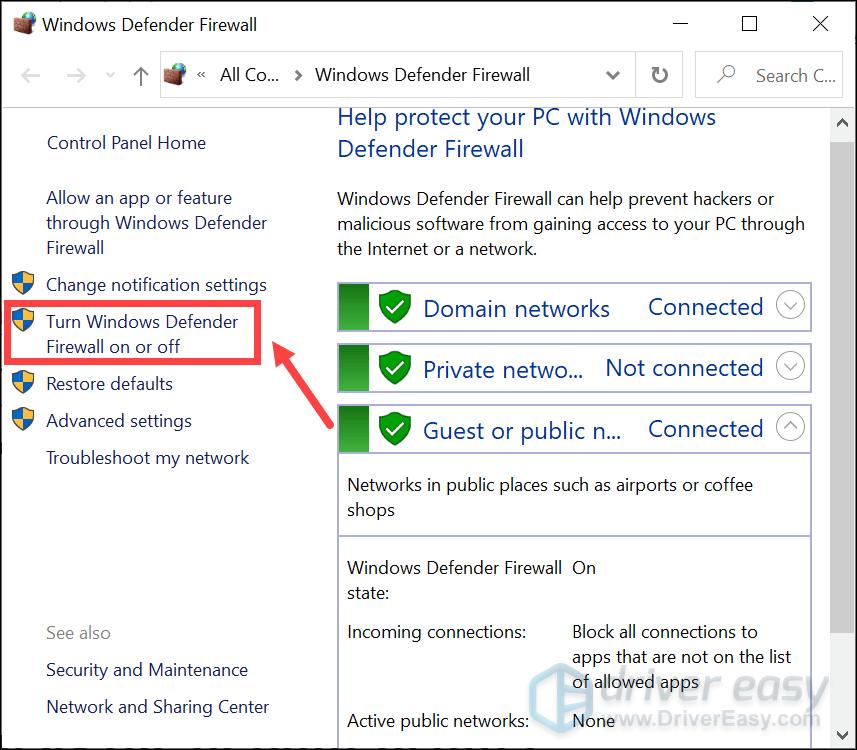 отключить брандмауэр защитника Windows